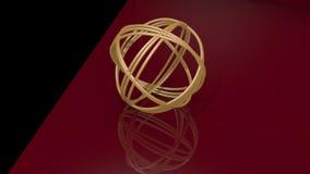 金黄球的结组成由金黄圆环 转动在黑和深红背景的对象 反映几何 影视素材