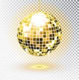 金黄球的迪斯科 也corel凹道例证向量 查出 夜总会党光元素 迪斯科舞蹈的明亮的镜子银球设计 向量例证