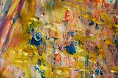 金黄生动的蓝色桃红色彩虹油漆纹理,蜡状的抽象背景,水彩生动的背景,纹理 免版税库存照片