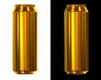 金黄的啤酒罐 免版税库存图片