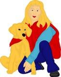 金黄的女孩她的猎犬 免版税库存照片