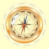 金黄的指南针上升了 免版税库存照片