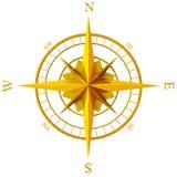 金黄的指南针上升了 库存图片