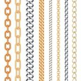 金黄的时尚和在白色隔绝的银色无缝的链集合 免版税库存图片