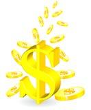 金黄的硬币 图库摄影