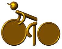 金黄的骑自行车者 免版税库存照片