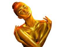 金黄皮肤妇女画象特写镜头 有假日金黄发光的专业构成的性感的式样女孩 金黄金属身体 免版税库存图片