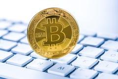 金黄硬币bitcoin Cryptocurrency概念 图库摄影