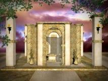 金黄神秘的寺庙 库存照片
