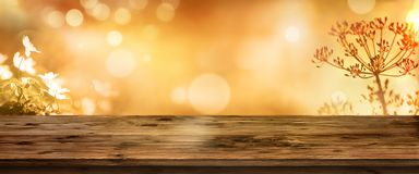 金黄秋天背景和木桌 库存图片