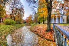 金黄秋天醇厚的秋天在凯瑟琳公园,普希金,圣彼得堡,俄罗斯 免版税库存图片
