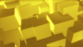 金黄立方体1个//1080p迷人的几何3d录影背景圈 向量例证