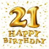 金黄第二十一个金属气球 党装饰金黄气球 周年标志为愉快的假日,庆祝, birt 皇族释放例证