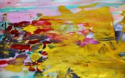 金黄紫罗兰色桃红色水彩察觉背景,蜡状的抽象纹理 库存图片