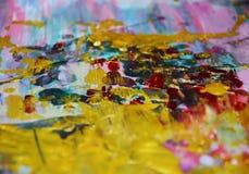 金黄紫罗兰色桃红色水彩背景,蜡状的抽象纹理 库存图片