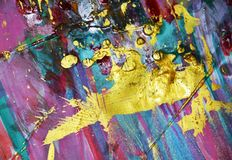 金黄紫罗兰闪耀的桃红色蓝色泥泞的水彩摘要五颜六色的背景,金子纹理 库存图片