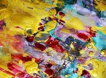 金黄红色闪耀的桃红色蓝色泥泞的水彩摘要五颜六色的背景,金子纹理 免版税库存照片