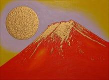 金黄红色Mt 从吉田市市日本的富士 免版税库存图片