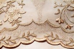 金黄纺织品 库存照片