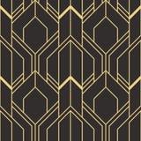 金黄线形 抽象派deco无缝的豪华背景 库存例证