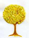 金黄结构树水彩 免版税库存图片