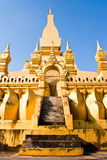 金黄老挝寺庙万象 免版税图库摄影