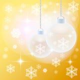 金黄背景的圣诞节 库存图片
