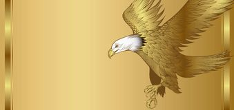 金黄背景的老鹰 免版税库存图片