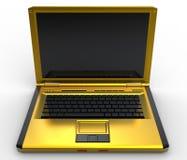 金黄膝上型计算机 免版税库存照片
