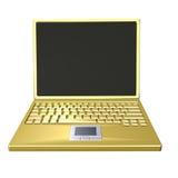 金黄膝上型计算机 免版税库存图片