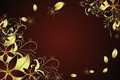 金黄花卉的框架 免版税库存照片