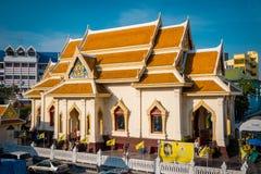 金黄菩萨寺庙或'Wat Traimitr Withayaram'在曼谷,泰国 免版税库存图片