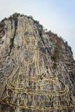 金黄菩萨激光雕刻了并且inlayed与在Khao Chee Ch的金子 库存图片