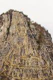 金黄菩萨激光雕刻了并且inlayed与在Khao Chee Ch的金子 图库摄影