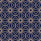 金黄蓝色几何装饰品 无缝的模式 库存照片
