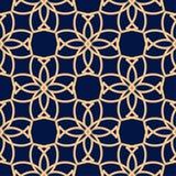 金黄蓝色几何装饰品 无缝的模式 图库摄影