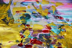 金黄蓝色桃红色水彩背景,蜡状的抽象纹理 库存照片