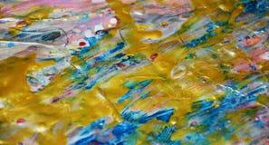 金黄蓝色桃红色独特的背景,蜡状的抽象背景,水彩生动的背景,纹理 库存照片