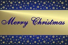 金黄蓝色看板卡的圣诞节 库存例证