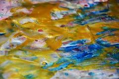 金黄蓝色闪耀的背景,水彩生动的背景,纹理 库存图片