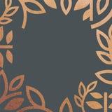 金黄逗人喜爱的图表花卉框架 传染媒介框架用草本和叶子 金黄闪烁箔作用 罗斯金古铜颜色 黑暗的bl 库存例证
