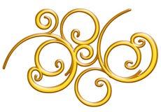 金黄金属装饰品, 3d例证 免版税库存图片