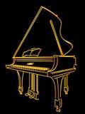 金黄钢琴 库存图片