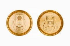 金黄铝被隔绝的苏打饮料罐子顶视图 库存图片