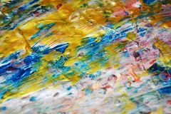 金黄银色蓝色桃红色软的纹理,蜡状的抽象背景,水彩生动的背景,纹理 免版税库存图片