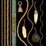 金黄链魅力无缝的样式例证 与金黄链子的水彩纹理 库存照片