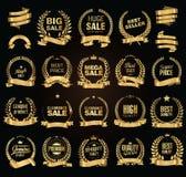 金黄销售月桂树花圈传染媒介例证收藏 库存图片