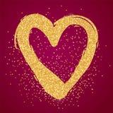 金黄闪烁心脏 华伦泰和婚礼之日 库存照片