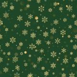金黄闪烁的在绿色背景的雪花无缝的样式 10 eps 向量例证
