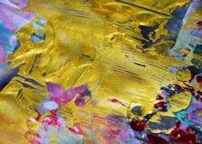 金黄闪耀的桃红色蓝色泥泞的水彩摘要五颜六色的背景,金子纹理 免版税库存图片